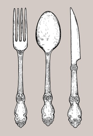 silver cutlery: Hand drawn vintage silver cutlery. Fork, knife and spoon.