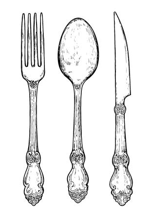 Dibujado a mano cubiertos de plata de la vendimia. Tenedor, cuchillo y cuchara. Ilustración de vector