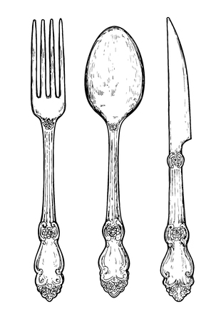 fork knife: Hand drawn vintage silver cutlery. Fork, knife and spoon.