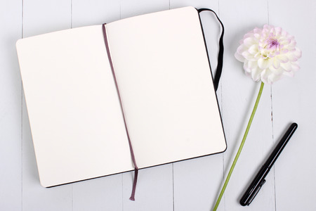 notebook page: Blank Sketchbook mockup with pen and flower.