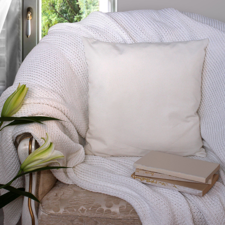 pillow case: Pillow case Mockup. White pillow on an armchair in the room. Stock Photo