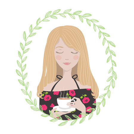 Female Character in oval round floral frame. Young woman, girl in dress with roses enjoys her cup of tea. Avatar for blogger. Ilustração