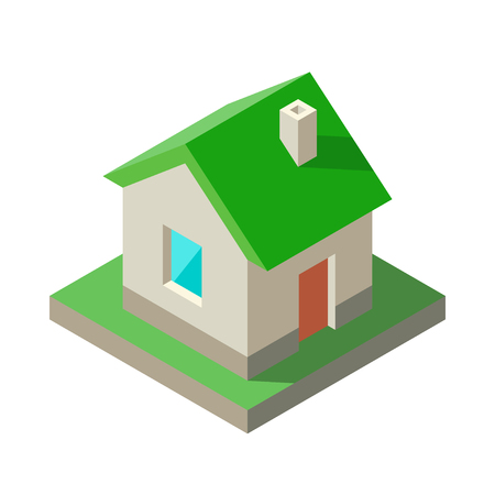 Isometric Eco green House Icon, logo. Vector illustration Solid colors