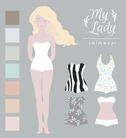 dress up: Girl model, swimwear mockup. Cute dress up paper doll, body template. Best for surface designer. Illustration