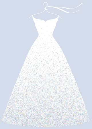 White bridal shower dress on hanger, fashion illustration.  イラスト・ベクター素材