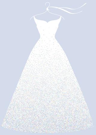 White bridal shower dress on hanger, fashion illustration. Ilustrace