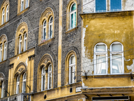 corner house: Colorful Architecture in Budapest, Europe. Photography in vintage style. Stock Photo