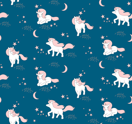 Seamless pattern with cute Unicorns, stars and moon. Vector illustration.