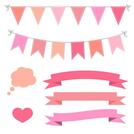 Set of pink flat buntings garlands, flags, ribbons, heart and speech bubble. Celebration decor, Valentines Day.