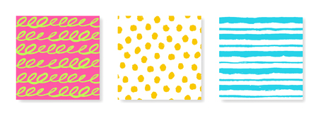 three dots: Set of three vector seamless patterns in bright summer colors. Hand painted illustration for design. Swirls, dots, stripes. Illustration