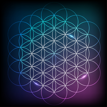 chakra energy: Flower Of Life. Sacred geometry. Vector element with vibrant gradient Illustration