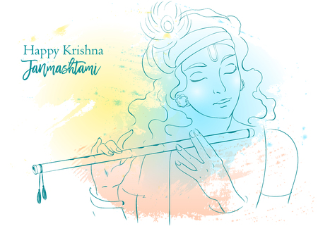 Lord Krishna plays his flute, vector Illustration. Happy Janmashtami, annual Hindu festival greetings. Illustration