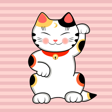 Maneki Neko Cat wishes Good Luck. Cute traditional japanese cat. Pink striped background.