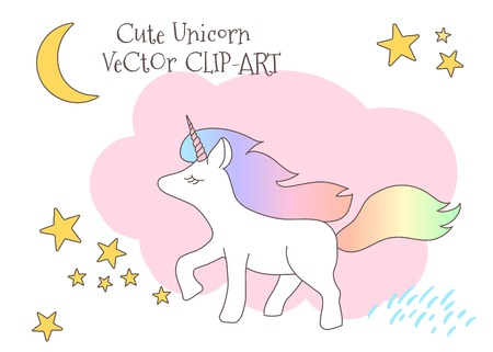 Cute magical unicorn with rainbow tail, lovely graphics for t-shirts, decals, greeting card, good vibes. Illustration