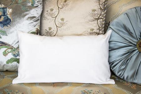 White Lumbar Pillow On An Armchair, Case Mockup. Interior Photo ...