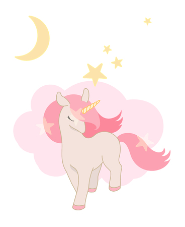 Cute Unicorn, little Pony with pink hair. Lovely graphics for t-shirts, greeting card, etc. Pink and Pastel colors.