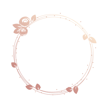 Feminine logo frame, wreath, gold roses and leaves, round shape. Vectores