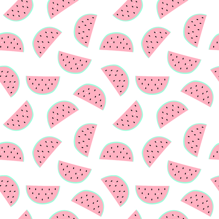 Seamless pattern with watermelon pieces, hand drawn vector illustration