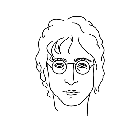 September 19, 2017: Creative portrait of John Lennon, musician from Beatles. Line art vector illustration