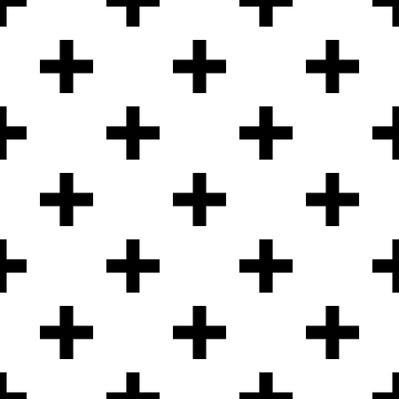 Black Crosses on White, Seamless Pattern.