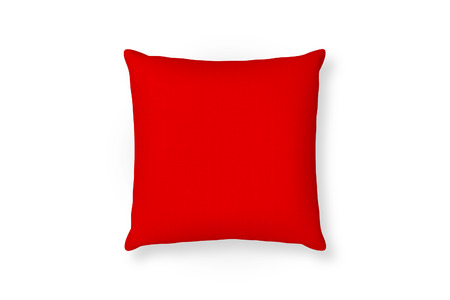 Canvas pillow mockup. Red blank cushion isolated background. Top view Stock Photo
