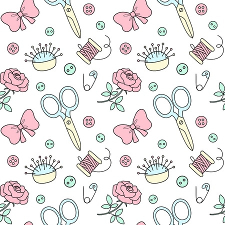 Seamless pattern with hand drawn sewing doodle. Fashion background in cute cartoon style. Needle bed, scissors, bows, buttons. Иллюстрация