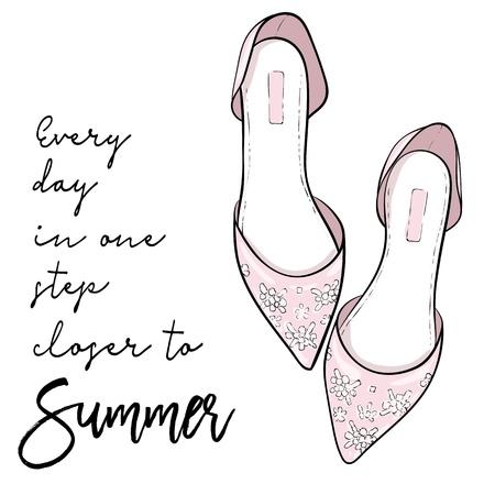 Summer quote. Elegant fashion shoes, sandals, flats vector illustration