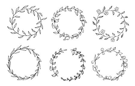 Set of hand drawn  round floral wreaths Ilustração