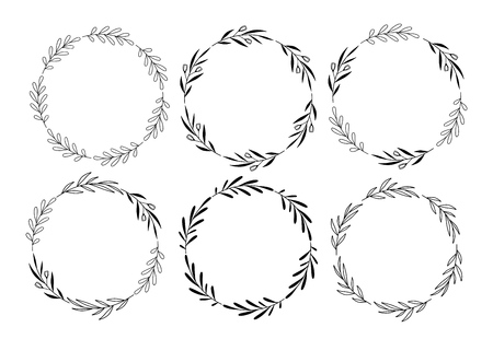 Set of hand drawn vector round floral wreaths
