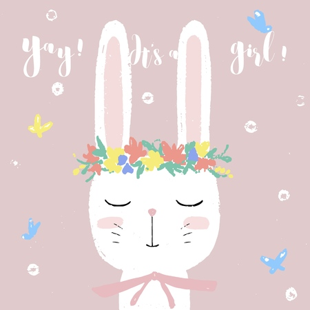 Cute white bunny on baby shower card invitation, design template