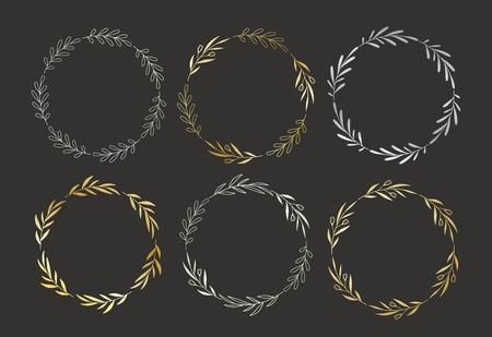 Set of golden and silver hand drawn vector round floral wreaths.