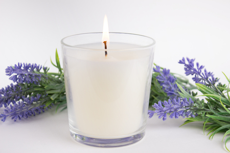 Candle in glass on white background with lavender, product mock-up