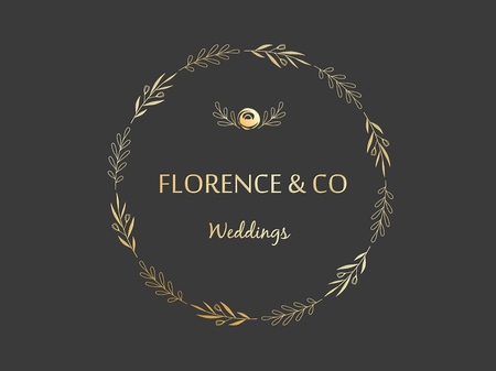 Golden floral wreath made of branches leaves and flowers, branding template