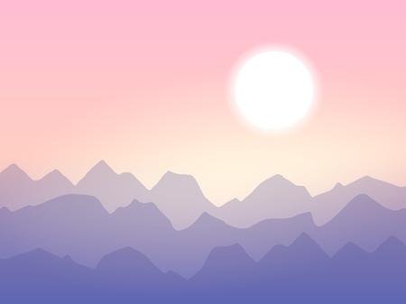 Sunrise in the mountains, minimalistic vector illustration