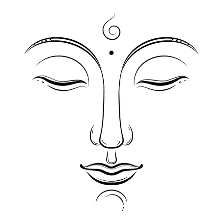 Buddha face vector art. Buddhism, yoga, sacred spiritual, zen ink drawing isolated on white Vettoriali