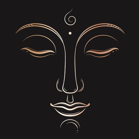 Buddha face vector art. Buddhism, yoga, sacred spiritual, zen ink drawing Çizim