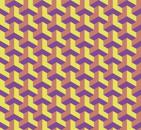Seamless geometric pattern with cubes, 3D effect architectural illustration. Ilustração