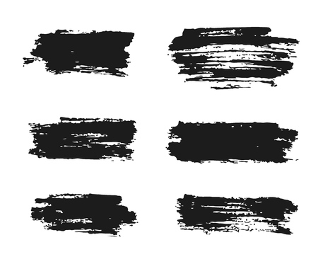 Black ink brush strokes, hand painted vector illustration