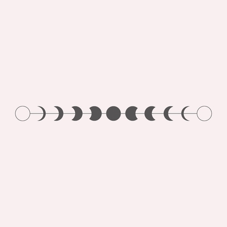 Moon phases icon, border, vector illustration in boho style