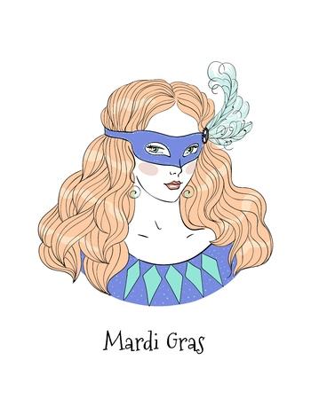 Mardi Gras Girl vector illustration.