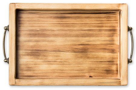 vintage wooden tray isolated on white background Banco de Imagens
