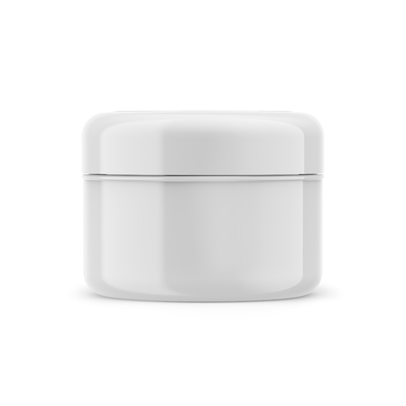 Cosmetic glossy beauty cream jar, 3D white plastic container isolated on a white background, product mockup Banco de Imagens