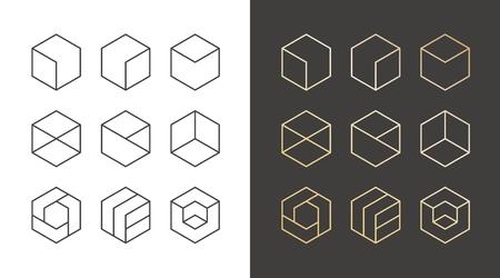 Set of 9 icons, trendy golden logo. Linear design elements. Hexagon vector illustration