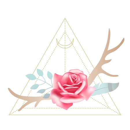 Boho styled beautiful pink rose with deer antlers, feather and leaves. Sacred geometry Moon triangle on background. Design element, vector illustration Ilustração