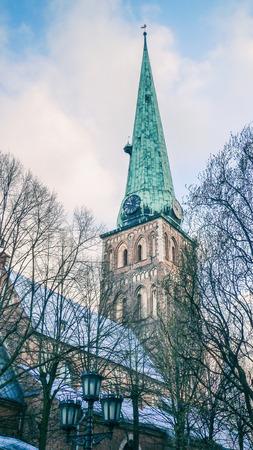St. Jacob Catholic Cathedral of Riga, Latvia. Retro styled photography, dome view