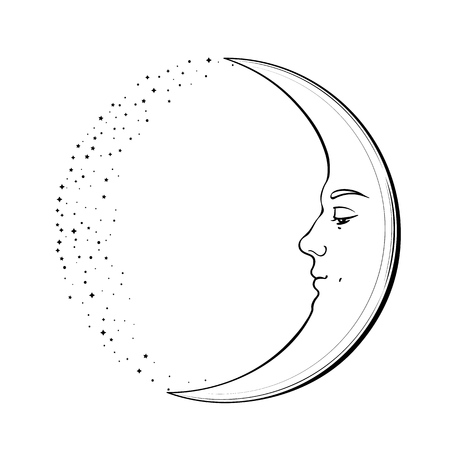 Waxing Crescent Moon with a face of handsome young man. Hand drawn vector illustration in vintage style.