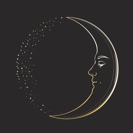 Creciente luna creciente con rostro de joven apuesto. Ilustración de vector dibujado a mano en estilo vintage, dorado sobre fondo oscuro.