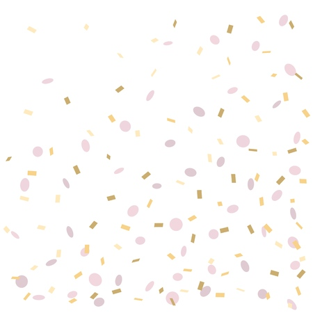 Pink and Golden Confetti isolated on white background, vector illustration