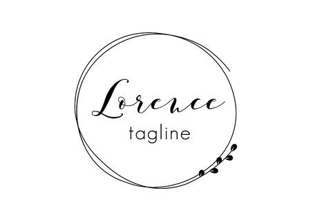 Vorgefertigtes Logo-Design mit minimalistischem Blumenkranz. Weibliche Logovorlage im eleganten künstlerischen Stil