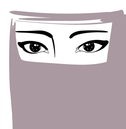 Muslim woman in niqab, arabian girl portrait, vector illustration